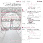Flyer, Seiten 2 (links) und 3 (rechts), Fachtag Cyberstalking entgegentreten