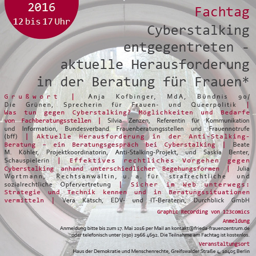 Design Fachtag Cyberstalking | Anti-Stalking-Projekt