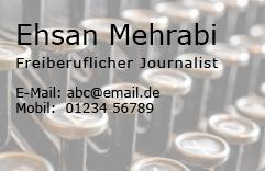 Visitenkarten-Design für Ehsan Mehrabi