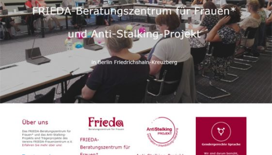 Screenshot der neuen FRIEDA-Website
