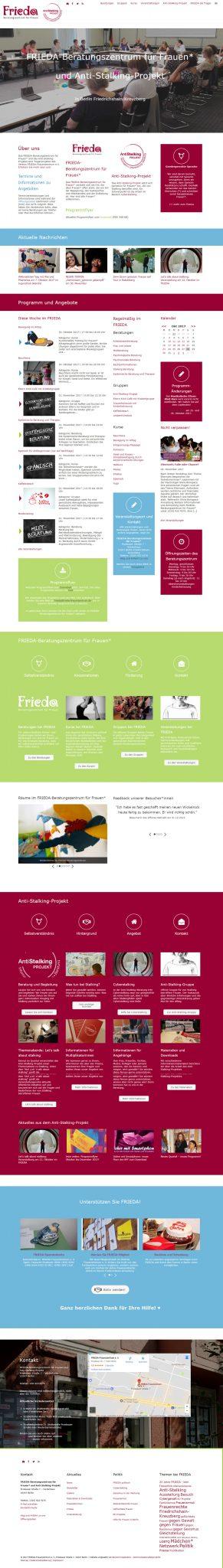Screenshot der Startseite der neuen FRIEDA-Website seit Dezember 2017