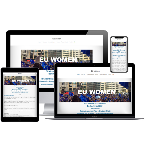 Website von EU Women auf verschiedenen Devices © Beyond Imagination