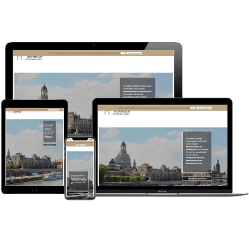 Website von RA Matthias Hofinger auf verschiedenen Devices © Beyond Imagination