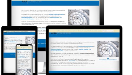 Website der AIKA Consulting GmbH auf verschiedenen Devices © Beyond Imagination